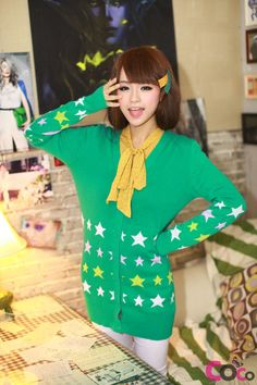 Green V-Neck Long Line Button-Through Asian Fashion Cardigan With Stars