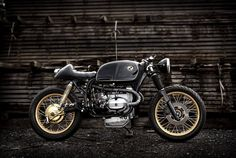 Gold and black bmw racer moto