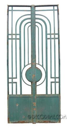 French Art Deco / Modernist Iron Entry Doors / Gates, Pair