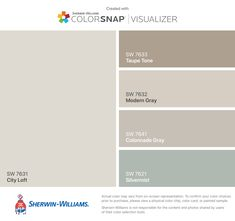 I found these colors with ColorSnap® Visualizer for iPhone by Sherwin-Williams: Accessible Beige (SW Aesthetic White (SW Colonnade Gray (SW Sticks & Stones (SW Sea Salt (SW Taupe Paint Colors, Beige Color Palette, Beige Paint, Bathroom Paint Colors, Paint Colors For Home, Bathroom Gray, Wall Colors, House Colors, Colour Palettes