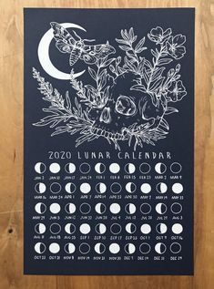 2020 Lunar Calendar Screen Print Poster Wicca, Magick, Witchcraft, Screen Print Poster, Poster Prints, Perception Du Temps, Graphic Design Magazine, Magazine Design, Calendar 2020