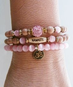 Set of 3 Cat's eye Yoga bracelets Om Namaste by LifeForceEnergy, $32.00
