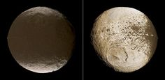"Saturn's moon Iapetus. Comparison of the two hemispheres. The dark terrain is called Cassini Regio after Jean Dominique Cassini. It's fairly smooth, showing that new material is being deposited which covers old cratering. (Credit: JPL NASA) Mona Evans, ""10 Amazing Facts about Saturn's Moons"" http://www.bellaonline.com/articles/art28136.asp"