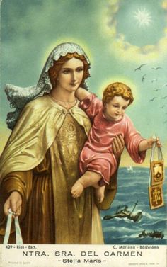 Our Lady of the Sea (Stella Maris). Our Lady of Mt. Carmel is also represented here with the brown scapulars. Jesus Mother, Blessed Mother Mary, Blessed Virgin Mary, Religious Pictures, Religious Art, Mont Carmel, Happy Feast Day, La Madone, Lady Of Mount Carmel