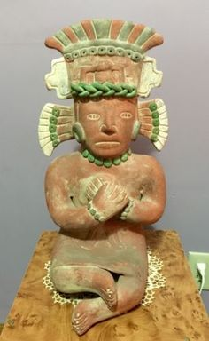 Stunning-Vintage-Mayan-Aztec-171-2-Terra-cotta-Terracotta-Clay-Sitting-Figure