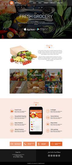 Payless Grocery app landing page on Behance Supermarket App, Supermarket Design, Web Design Tips, Page Design, App Landing Page, Online Gifts, Brochures, Fresh Fruit, Banners