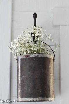 Repurpose a Paint Can into Hanging Flower Holder