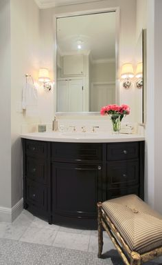 Built In Bathroom Vanity With Curved Center Cabinet For A Custom Like This One Contact Seven Trees Woodworking Llc