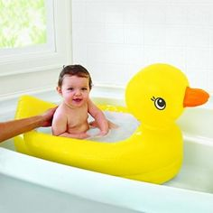 The Munchkin White Hot Inflatable Duck Tub is a padded interactive inflatable bath which makes big baths comfortable for kids. Ri Happy, Baby Tub, Baby Room, Baby Shower, Big Baths, Baby George, Bath Toys, Baby Safety, Kids Safety