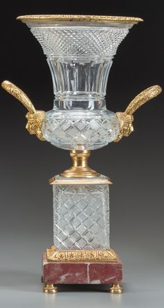 Crystal vase in mounts with marble base