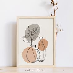 Plant Painting, Plant Drawing, Painting Art, Hand Embroidery Art, Embroidery Designs, Aesthetic Painting, Aesthetic Art, Beige Art, Minimalist Art