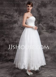 A-Line/Princess Strapless Ankle-Length Organza Satin Wedding Dresses With Lace Beadwork (002015003)