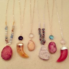 """More of the druzy, gemstone & saber tooth pendants! $52-$62 #jordanlovesjamesdesigns #gemstones #druzy #quartz #crystal #wirewrapped #pendant #necklaces…"""