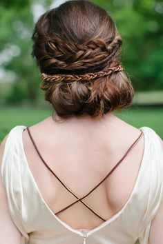 low-bun-updo-and-french-braid-for-wedding.jpg 600 × 900 pixlar