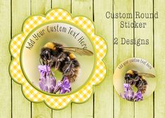 Bumble Bee Sticker, Custom Text Sticker, Honey Bee Sticker, Food Jar Label, Custom Round Label, Cosmetic Sticker, Package Label, by SBsStickers on Etsy Honey Label, Bee Photo, Business Stickers, Personalised Prints, Round Labels, Food Jar, Jar Labels, Print And Cut, Round Stickers