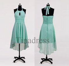 Custom Mint Halter Short Bridesmaid Dresses 2014 by Tinadress