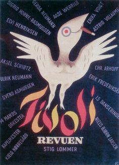 """På plakaten tegnet af Arne Ungermann 1945 kan man se navnene på de medvirkende i revuen - samt """"15 danserinder""""."""