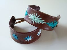 Stitched leather bracelets