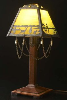 Image detail for -ALBERT BERRY Rare table lamp, its four-panel shade of pierced and ...