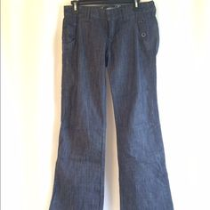 AE jeans 100% cotton..sailor style jeans with button embellishments..missing one clasp on inside (pictured). Wide leg American Eagle Outfitters Jeans Flare & Wide Leg