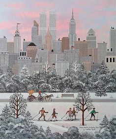 Cross Country in Central Park by Jane Wooster Scott ~ skiers ~ city ~ NY Winter Illustration, City Illustration, Photo Images, Art Images, Winter Art, Winter Snow, City Scene, Primitive Folk Art, Naive Art