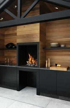 Outdoor Kitchen with Fireplace . Outdoor Kitchen with Fireplace . Outdoor Kitchen Design, Outdoor Entertaining Area, Kitchen Design, House Design, Black Kitchens, Outdoor Kitchen, New Homes, House Interior, Outdoor Design