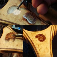 """78 Likes, 7 Comments - Greg Madrigal of Sierra Nets (@sierranets911) on Instagram: """"#Inlay of an #ammonite #fossil into a #birdseyemaple for @750maxfactory #customflyfishingnets.…"""""""