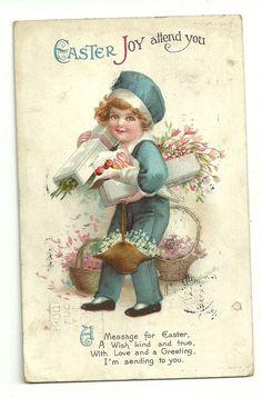Vintage easter - Easter Joy Attend You Vintage Cards, Vintage Postcards, Easter Art, Easter Poems, Easter Illustration, Birthday Postcards, Easter Parade, Decoupage Vintage, Easter Colors