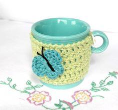 Mug Cozy Cup Cosy Mug Warmer Green Crochet by CageFreeFibers