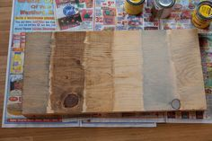 Minwax Classic Grey, Minwax Early American, Minwax Golden Oak, Minwax Picked Oak, RustOleum Sunbleached Wood, and Minwax Weathered Oak