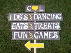 Items Similar To Large Outdoor Wedding Signs With Arrow And Stake Reception Party Sign Dinner Dancing Eats Treats Personalized On Etsy