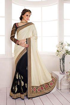 Cream Net Wedding Saree