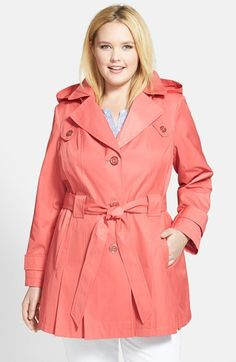 Free shipping and returns on Via Spiga 'Scarpa' Single Breasted Trench Coat (Plus Size) at Nordstrom.com. Pleats at the front and back hem add swingy style to a classic single-breasted trench coat topped with a detachable hood and wrapped with a tunneled tie belt. Button-down flaps and button-tab cuffs complete the design.