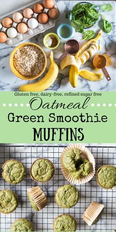 Green Smoothie Muffins Loaded with nutrient-dense greens, naturally sweetened with bananas and a little honey/maple syrup, and packing an extra punch of fiber-rich rolled oats for good measure…a new breakfast favorite was born. Healthy Muffin Recipes, Healthy Muffins, Baby Food Recipes, Cooking Recipes, Breakfast Healthy, Breakfast Muffins, Breakfast Kids, Healthy Brunch, Oatmeal Muffins