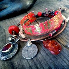 Quisnam bangle sampler: bangle bracelet set , sari silk bangle, carnelian, vintage kuchi, copper bangles, tin jewelry, charm bangle