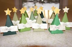 Fur and Green Feathers: Christmas Tree Place Cards