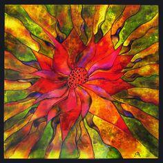 Allergie saisonnière  20 x 20 Seasonal allergy. Peinture sur verre / Glass painting