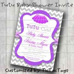 TuTu Baby Shower Invitations Invite You Print Personalized Chevron