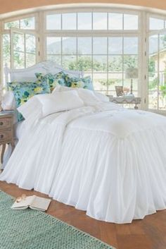 Luxurious, white, romantic bedspread. Southampton Skirted Coverlet from Soft Surroundings