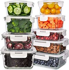 Glass Food Storage, Kitchen Storage Containers, Meal Prep Containers, Glass Containers, Glass Kitchen, Kitchen Items, Home Decor Kitchen, Kitchen Dining, Kitchen Essentials List
