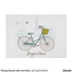 Bicicleta do vintage com a cesta bonito em Paris Poster