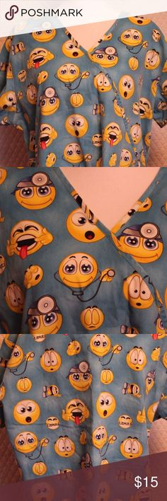 XL Ladies Scrub Top Uniform Dentist Smiley An adorable Ladies Smiley scrub top. Perfect for Dentist, nurses, vet techs or CNA's.  Central Brand size XL Pre Owned condition  approx. 24 inches from pit to pit for  a total of 48 inches around and 26 inches in length Central Tops