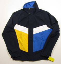 Nautica Men's Navy Blue Color Block Bomber Polyester Jacket #Nautica #FlightBomber