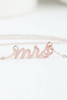 "Mrs Necklace Rose Gold Mrs Necklace Bridal Shower...or maybe gift from hubby-to-be as small pre-wedding gift. 16"" chain length."
