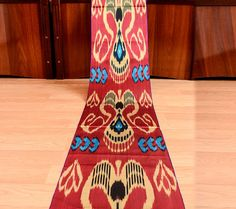 satin ikat ikat table runner fabric by the yard ikat by SilkWay