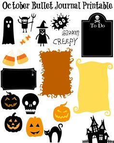 Free Printable Stickers for Your October Bullet Journal Layout - 4 Pages of Awesome! #Halloween #october #bulletjournal