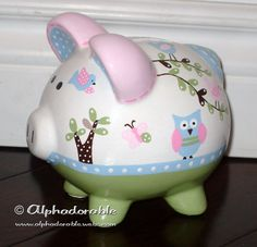 """Custom, hand painted ceramic personalized piggy bank  M2M Pottery Barn Hayley bedding small 5"""". $39.00, via Etsy."""