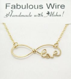 Gold Love Infinity Necklace Handcrafted Gold by FabulousWire