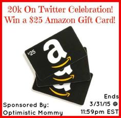 Twitter Fan Celebration – #Win a $25 Amazon Gift Card ~ World Wide! (ends 3/31)  http://africasblog.com/2015/03/22/twitter-celebration-amazon-gc/