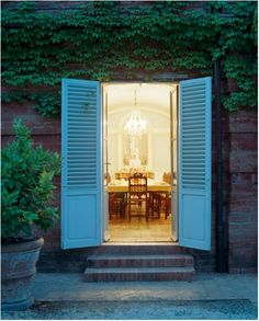 It's so great how these exterior shutters invite you inside. Find similar at http://www.shutterland.net